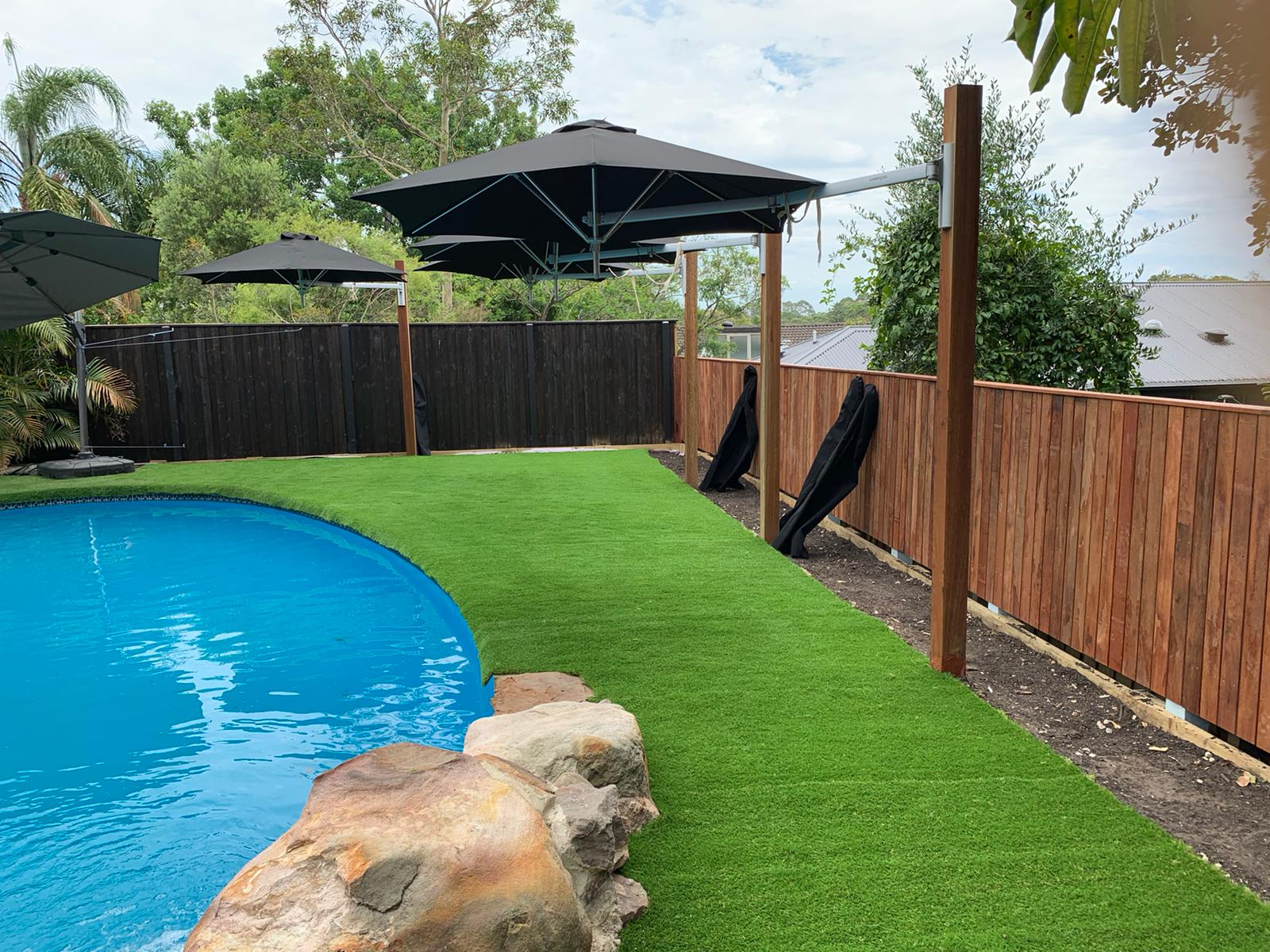 Closeup of artificial grass in pool makeover job in Kellyville