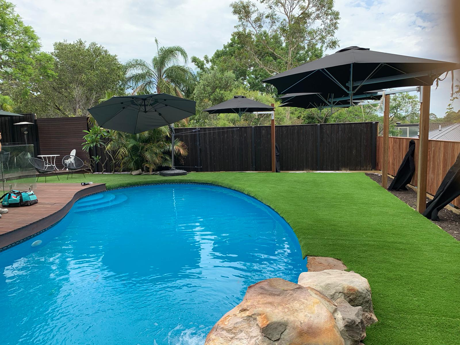 Renovated pool in Kellyville with artificial grass installed